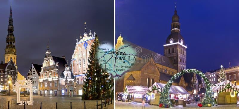 Kerstmis in Riga, Letland stock afbeelding