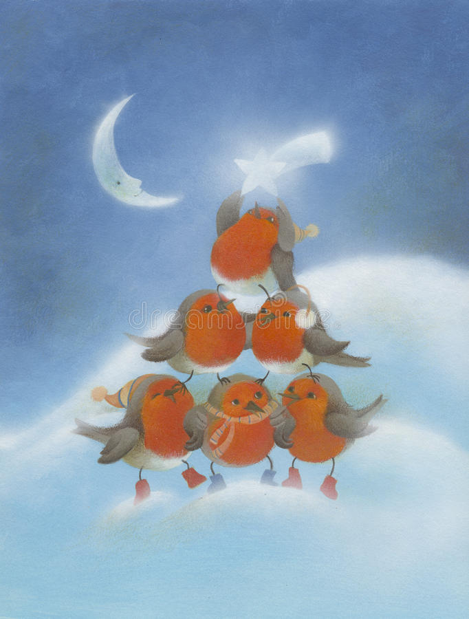 Kerstmis Robins stock illustratie