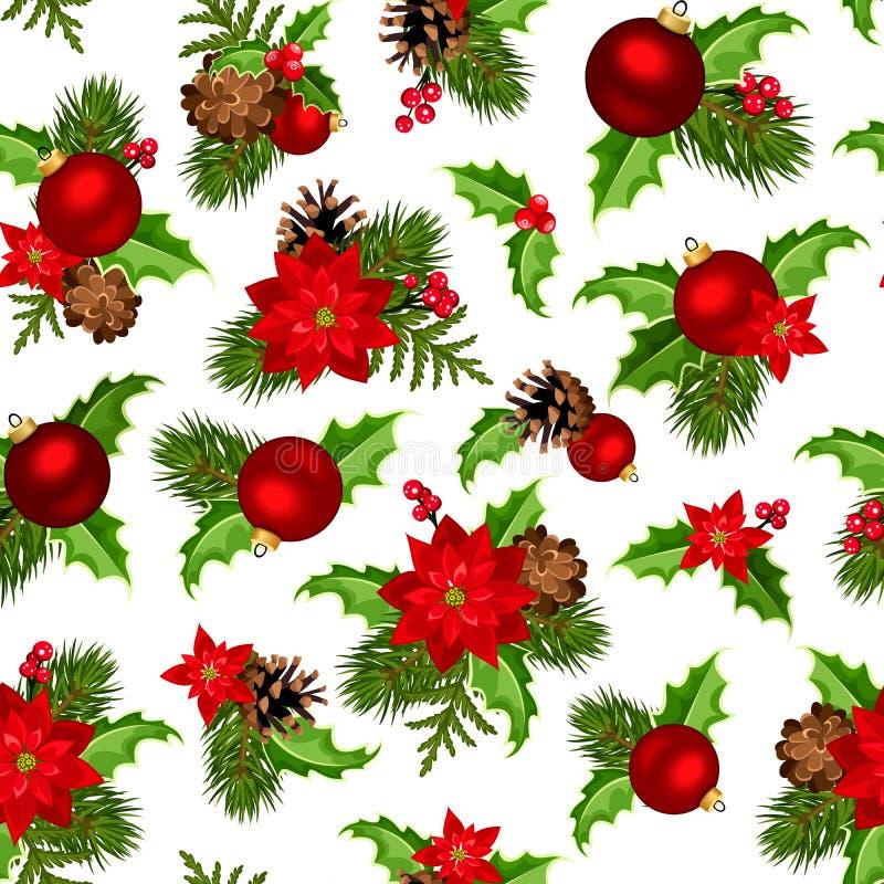 Kerstmis rode en groene naadloze achtergrond Vector illustratie royalty-vrije illustratie