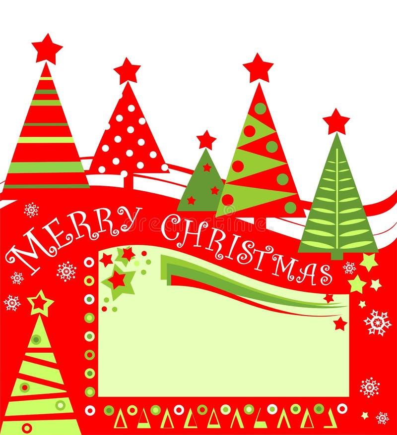 Kerstmis rode groene markering voor verkoop met verwijderde document abstracte sparren Vlak Ontwerp stock illustratie