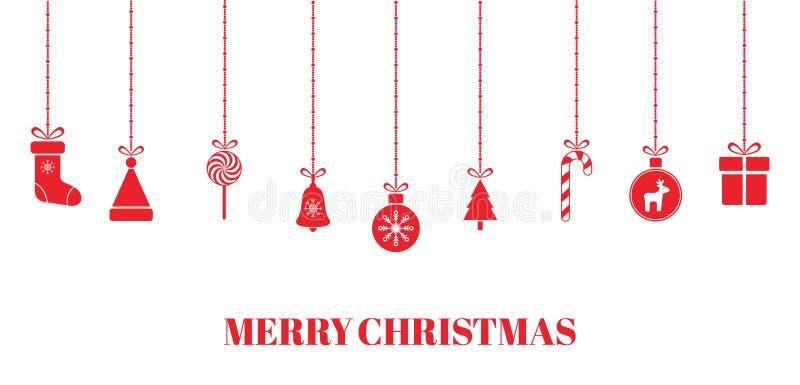 Kerstmis rode snuisterijen op transparante achtergrond Helder Kerstmisontwerp met het hangen van Kerstmisspeelgoed, giftdoos, Ker royalty-vrije illustratie