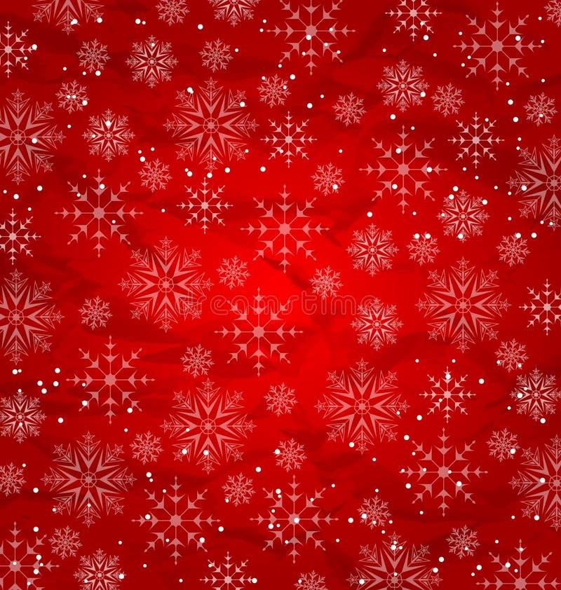 Kerstmis rood behang, sneeuwvlokkentextuur royalty-vrije illustratie