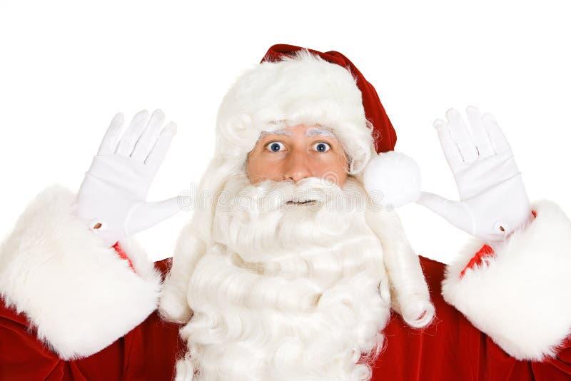 Kerstmis: Santa Claus With Hands In The-Lucht alsof Gearresteerd royalty-vrije stock afbeeldingen
