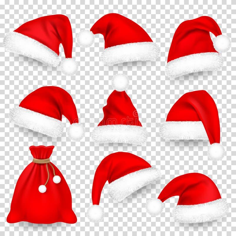 Kerstmis Santa Claus Hats With Fur Set, Zak, Zak Kerstmis, Nieuwjaar Red Hat met Schaduw De winter GLB Vector illustratie vector illustratie