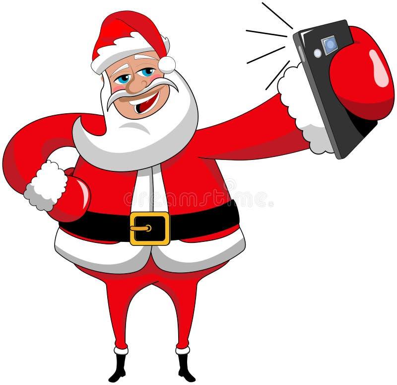 Kerstmis Santa Claus Selfie Isolated Smartphone royalty-vrije illustratie