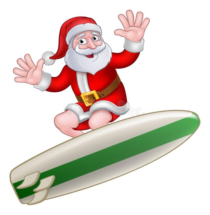 Kerstmis Santa Claus Surfing Cartoon stock illustratie