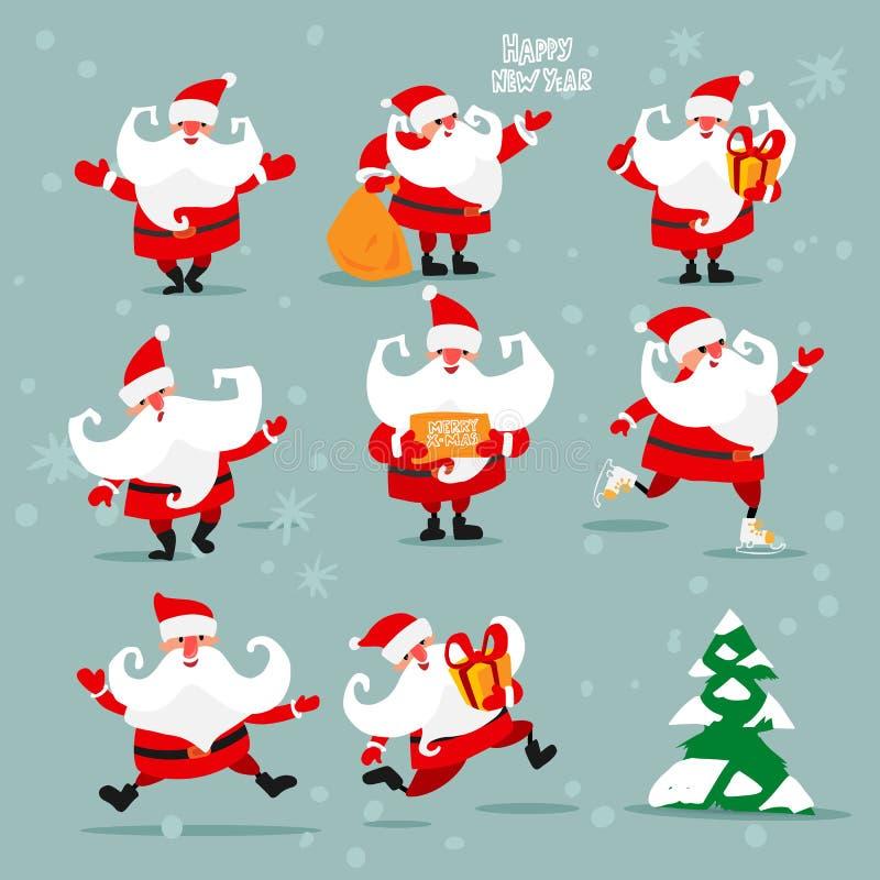 Kerstmis Santa Clauses en spar vector illustratie