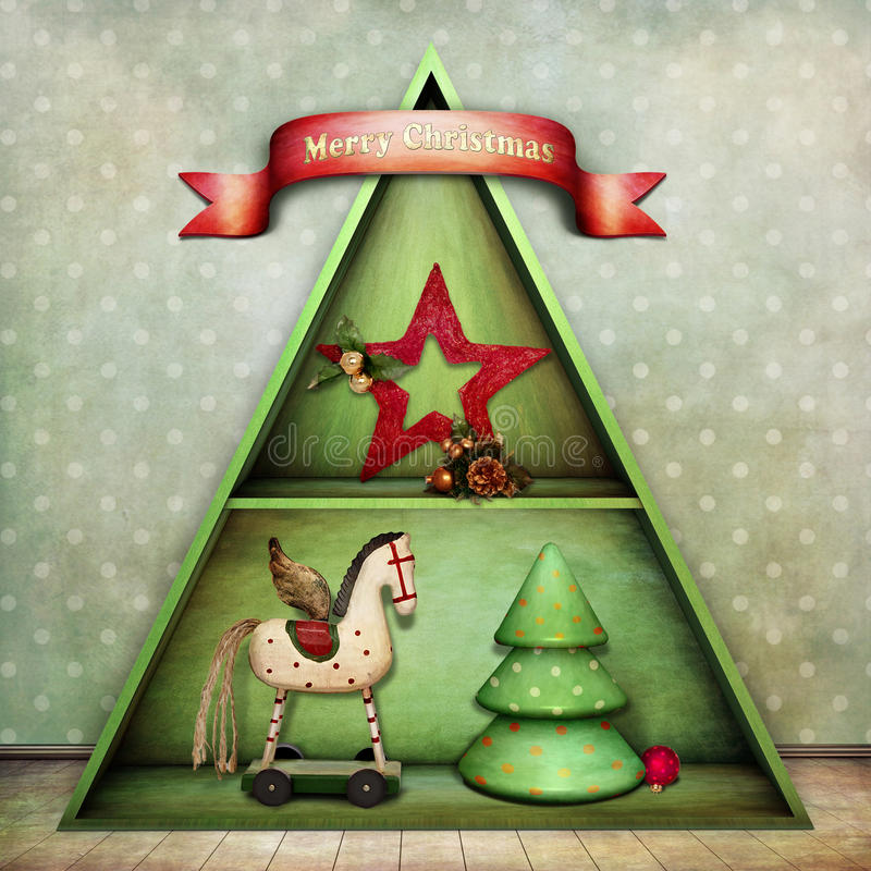 Kerstmis schelf stock illustratie