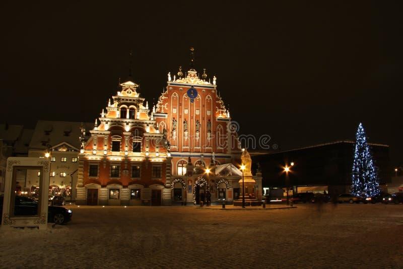 Kerstmis sguare in Riga, Letland stock foto's
