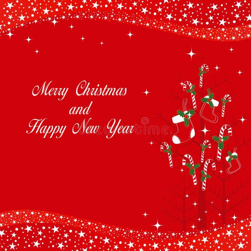 Kerstmis siert groetkaart stock illustratie