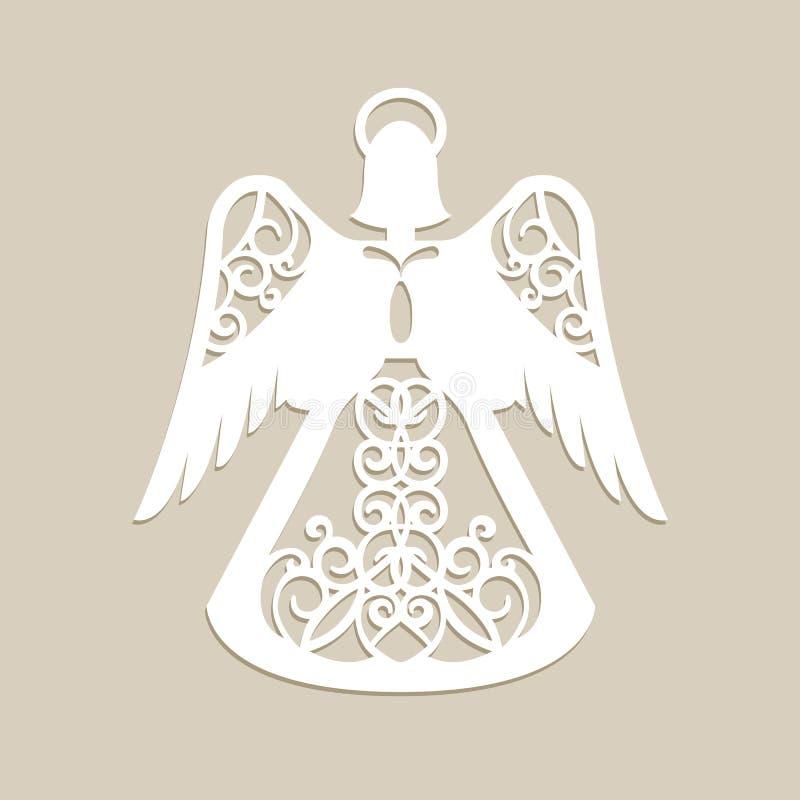 Kerstmis sneed openwork engel stock illustratie