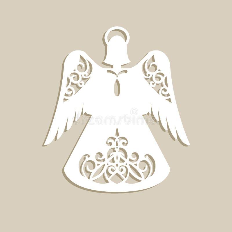 Kerstmis sneed openwork engel vector illustratie