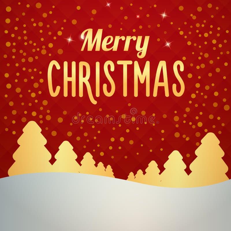 Kerstmis sneeuw Gouden boslandschap met sneeuw die van de hemel vallen De winterscène met Vrolijk Kerstmisbericht Vector art stock illustratie
