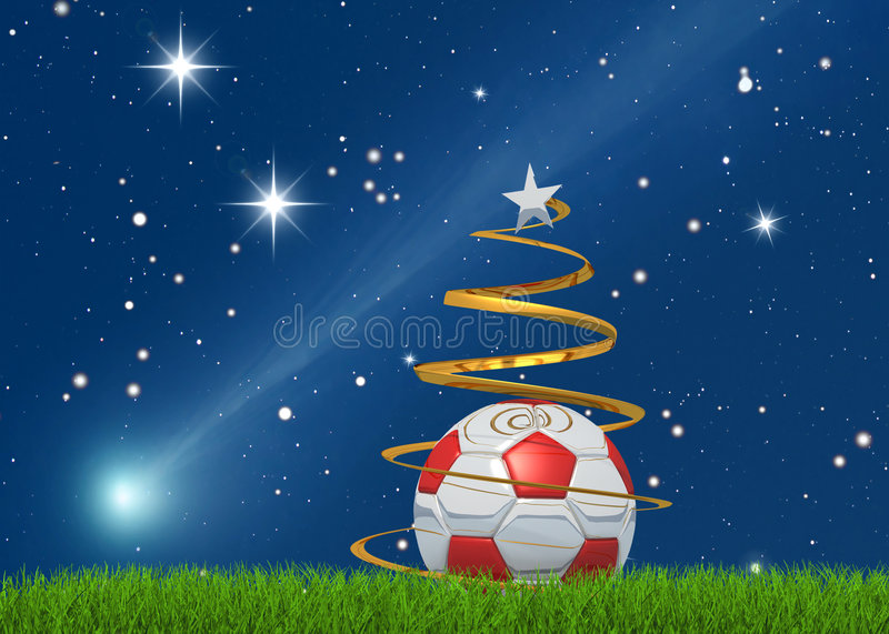 Kerstmis soccerball en komeet vector illustratie