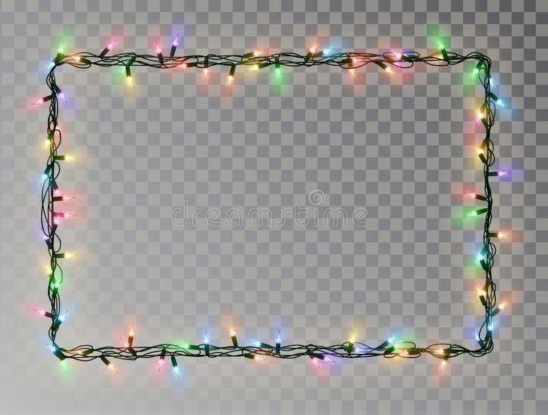 Kerstmis steekt kader van het grens het vector, lichte die koord op donkere achtergrond met exemplaarruimte wordt geïsoleerd aan  royalty-vrije stock fotografie