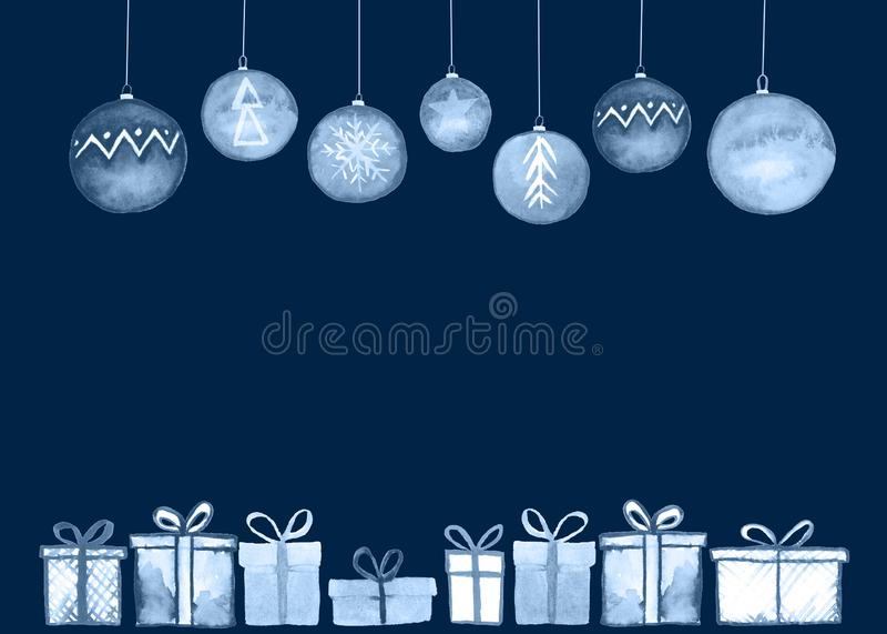 Kerstmis stelt ballenkaart voor royalty-vrije illustratie