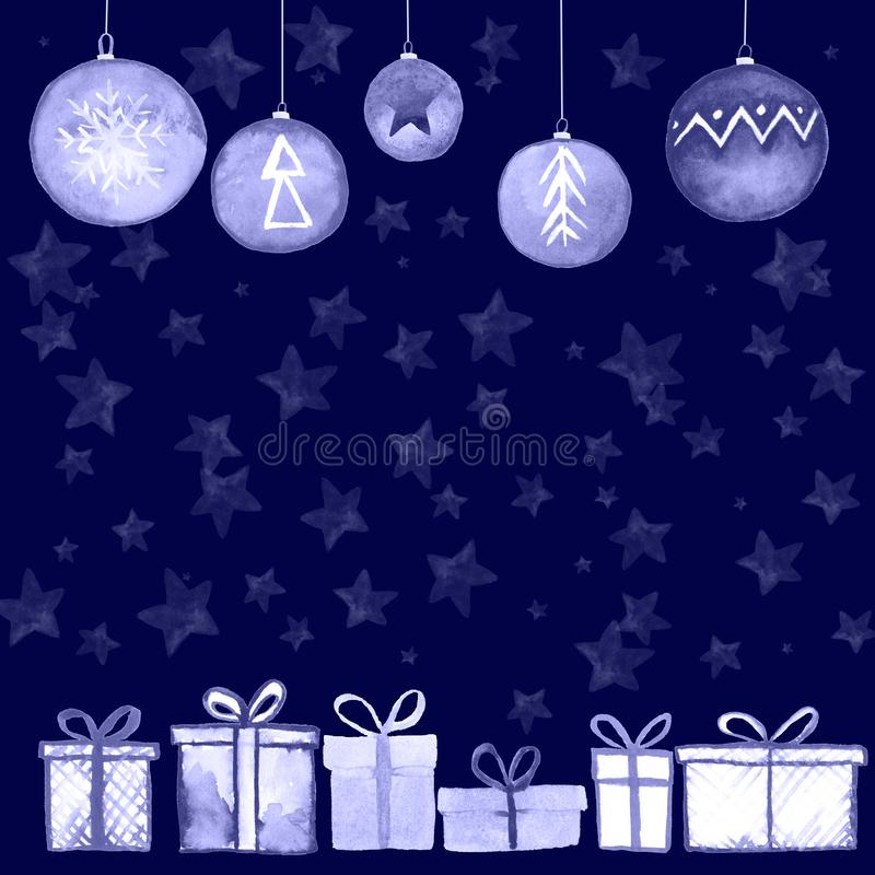 Kerstmis stelt ballenprentbriefkaar voor stock illustratie