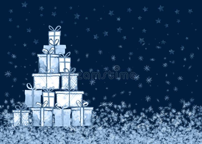 Kerstmis stelt kaart voor stock illustratie