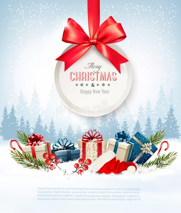 Kerstmis stelt met een giftkaart en een Kerstmanhoed voor stock illustratie