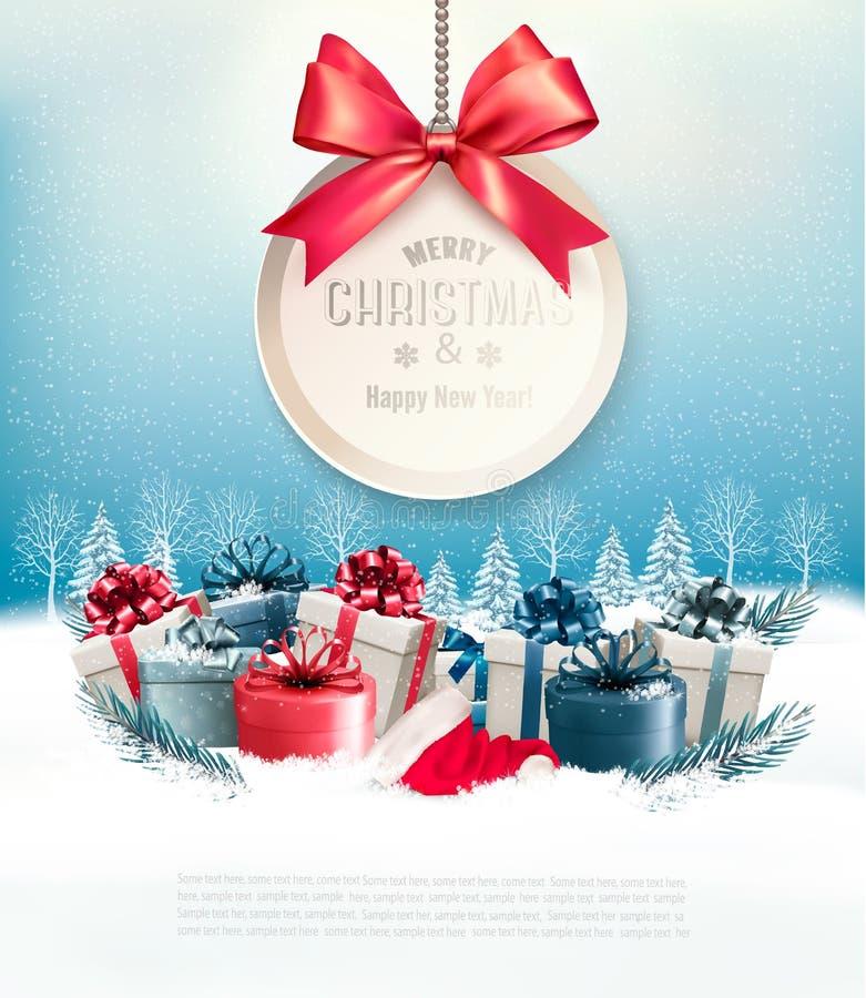 Kerstmis stelt met een giftkaart en een lint voor stock illustratie