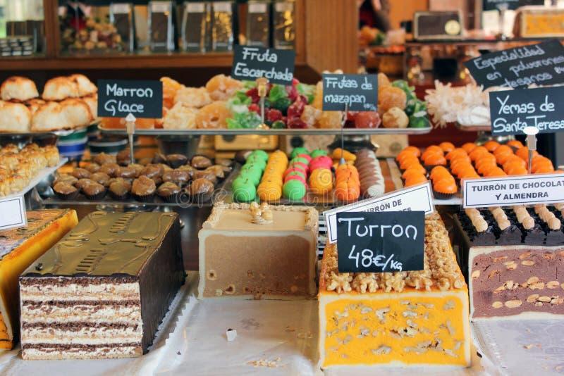 Kerstmis turron en snoepjes op vertoning in Spanje royalty-vrije stock foto's