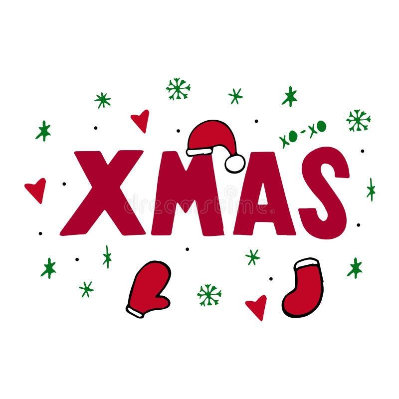 Kerstmis Typografisch op Kerstmisachtergrond met de winterlandschap met sneeuwvlokken, hert, Kerstmanhoed, handen Vrolijke Kerstk stock illustratie