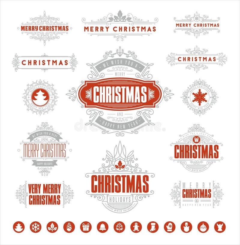 Kerstmis Typografische en Kalligrafische uitstekende etiketten vector illustratie