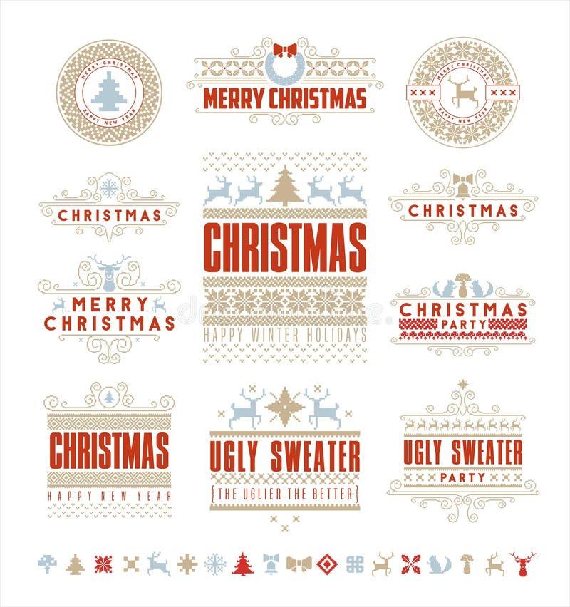 Kerstmis Typografische en Kalligrafische uitstekende etiketten, royalty-vrije illustratie