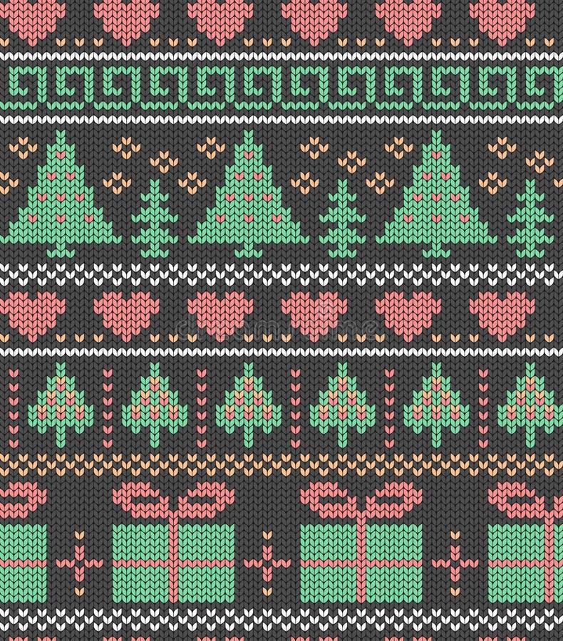 Kerstmis, vakantietekening Bomen, giften en harten Naadloze decoratieve achtergrond Jacquardweefsel Gebreid patroon royalty-vrije illustratie