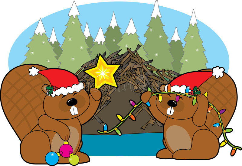 Kerstmis van de bever royalty-vrije illustratie