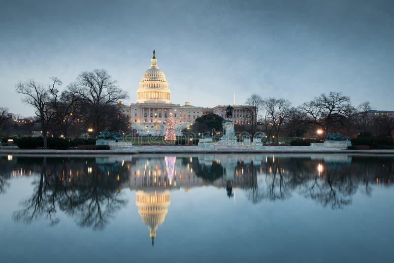 Kerstmis van de Bouw van het Capitool van Verenigde Staten van het Washington DC stock afbeelding