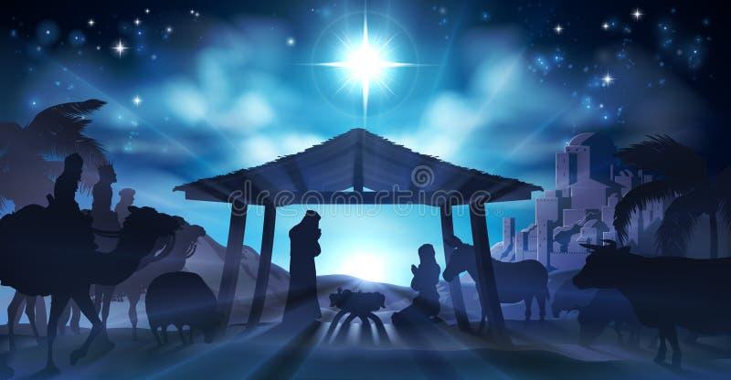 Kerstmis van de geboorte van Christusscène royalty-vrije illustratie