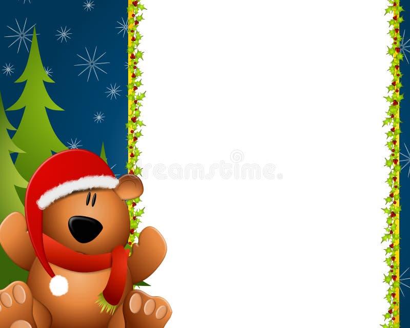 Kerstmis van de Grens van de teddybeer royalty-vrije illustratie