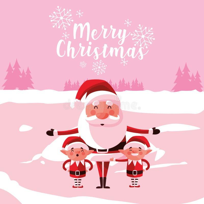 Kerstmis van de Kerstman met helpers in snowscape vector illustratie