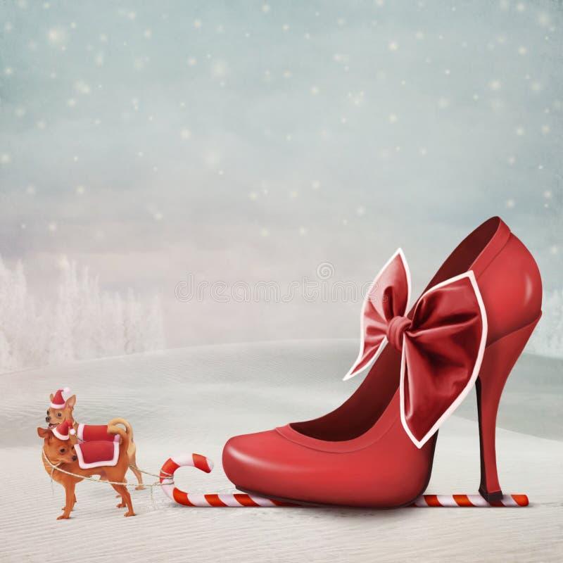 Kerstmis van de prentbriefkaar royalty-vrije illustratie