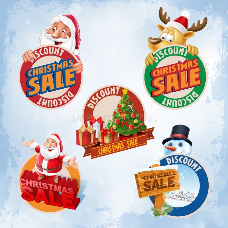 Kerstmis van de stickersverkoop stock illustratie