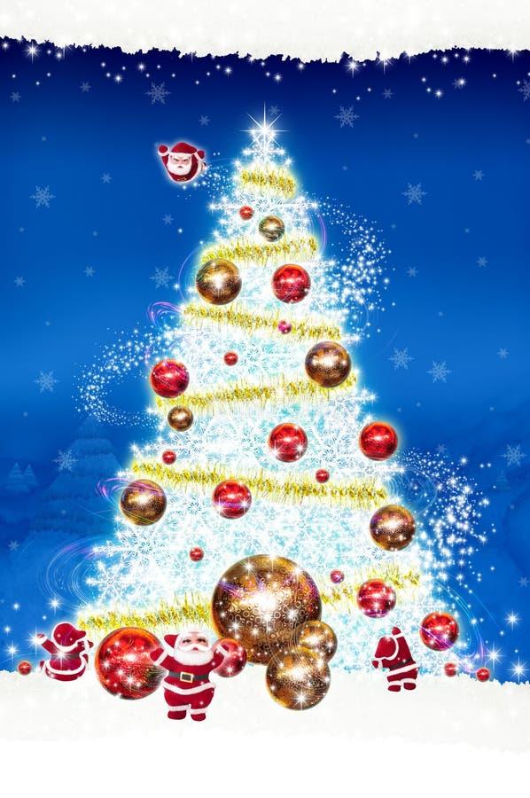 Kerstmis van het afficheaanplakbord op blauwe achtergrond stock foto