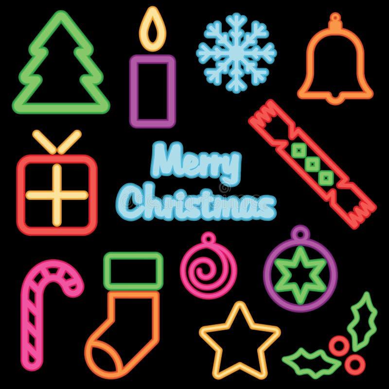 Kerstmis van het neon royalty-vrije illustratie