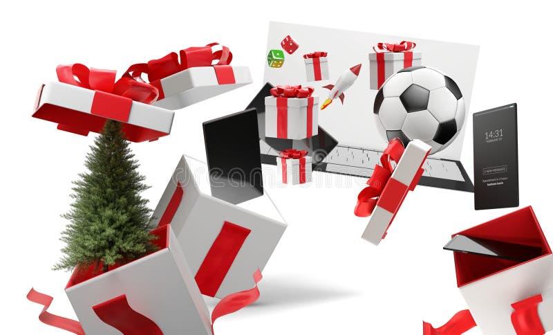 Kerstmis van verrassingsdozen stelt met volledig scherm mobiele telefoon en andere producten 3d-illustratie voor stock illustratie