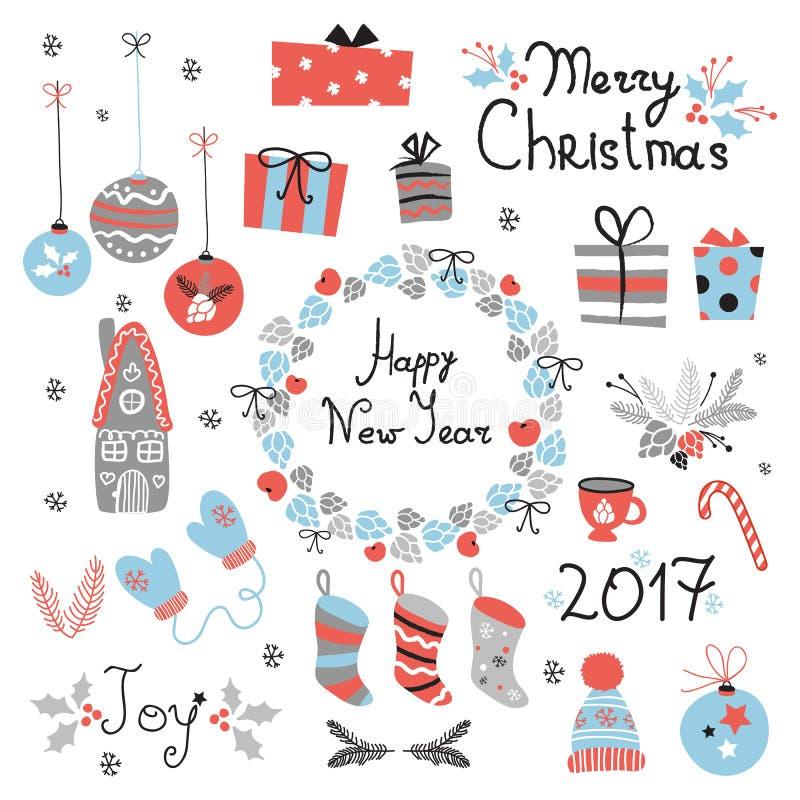 Kerstmis vastgestelde grafische elementen met kroon, cake, peperkoekhuis, vuisthandschoenen, speelgoed, giften en sokken stock illustratie