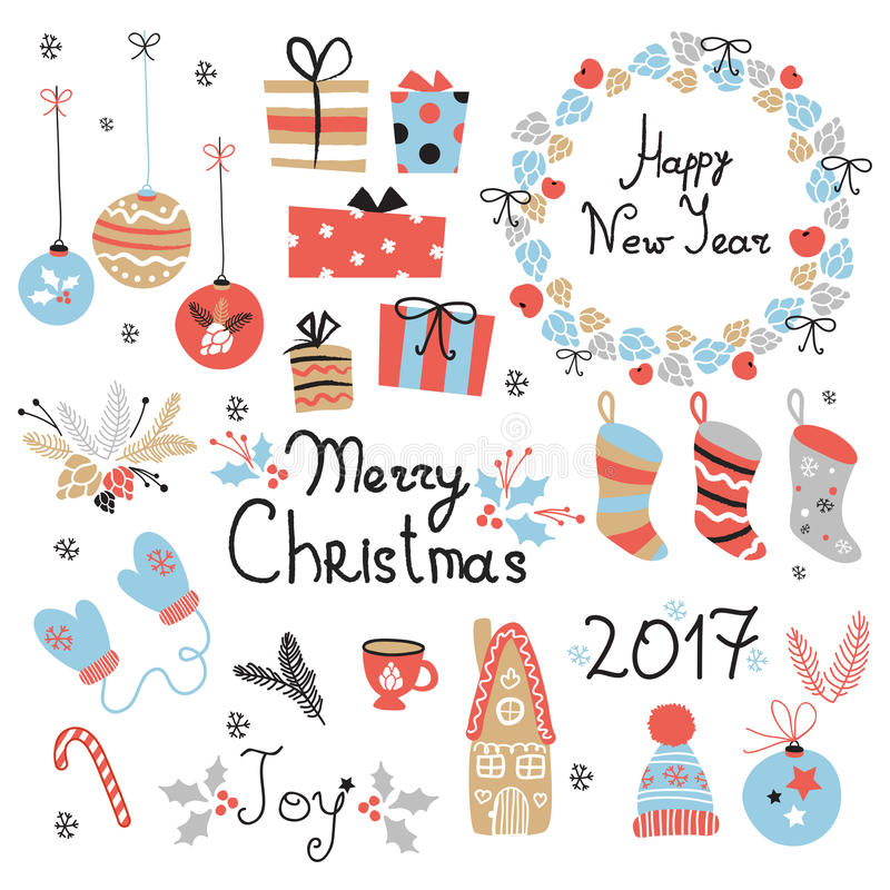 Kerstmis vastgestelde grafische elementen met kroon, cake, peperkoekhuis, vuisthandschoenen, speelgoed, giften en sokken vector illustratie