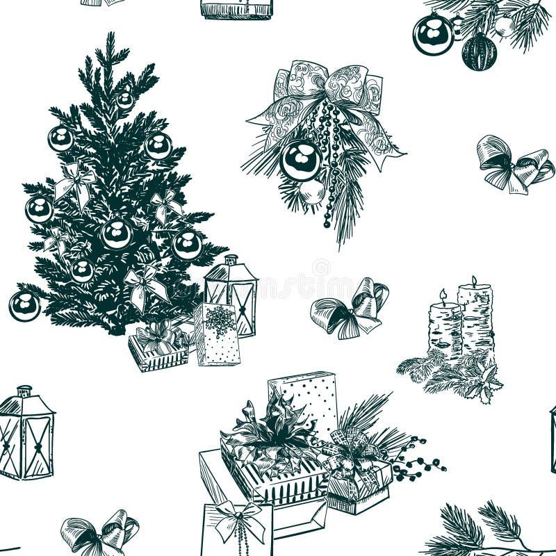 Kerstmis vector achtergrondschets vastgestelde gravure stock afbeelding