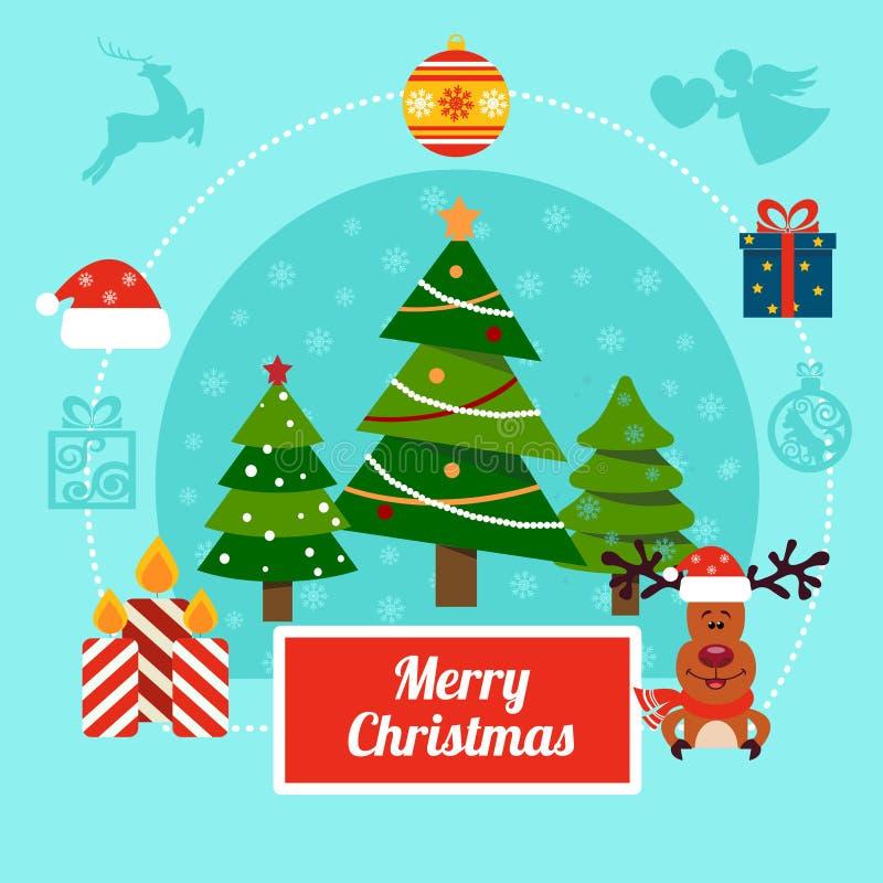 Kerstmis vectorillustratie met herten, Kerstbomen en giftdozen royalty-vrije illustratie