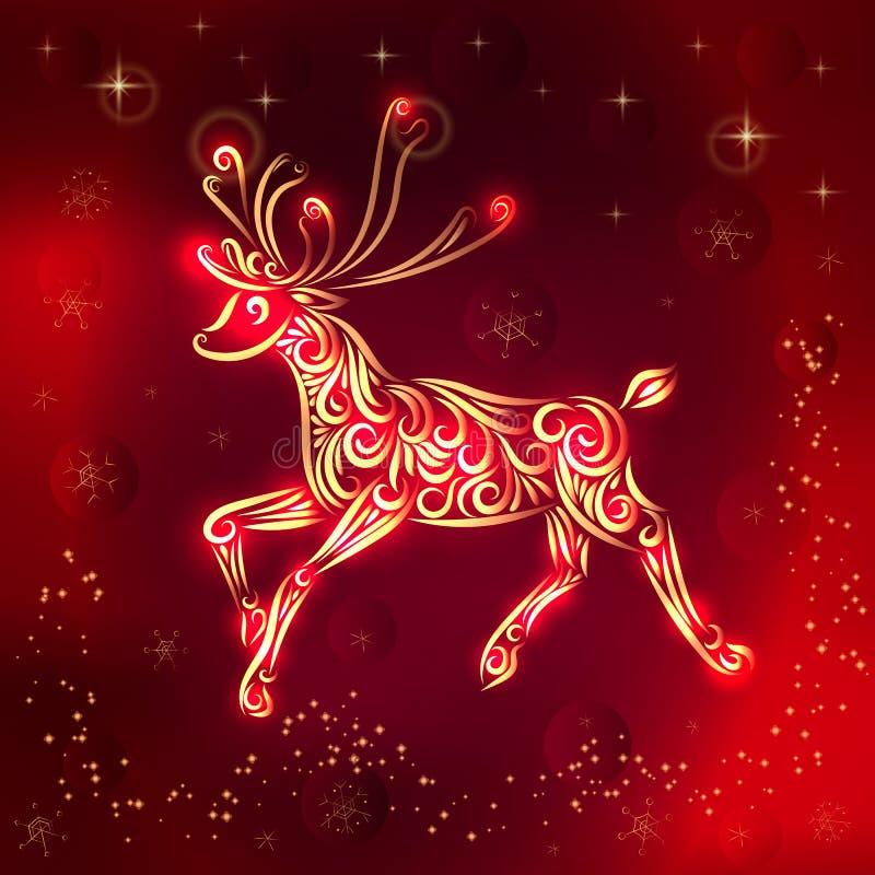 Kerstmis vectorillustratie van een rendier in rood-gouden kleuren Nieuwe jaaruitnodiging Gelukwensen op de vakantie Silhouet van  stock illustratie