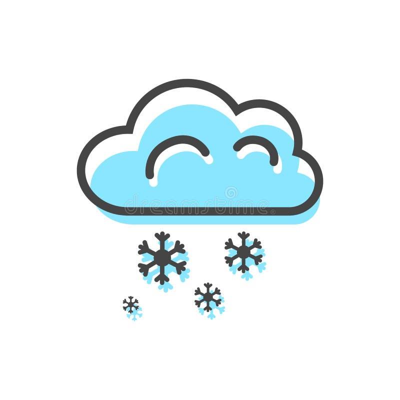 Kerstmis Vectorillustratie van wolkensneeuwvlokken stock illustratie