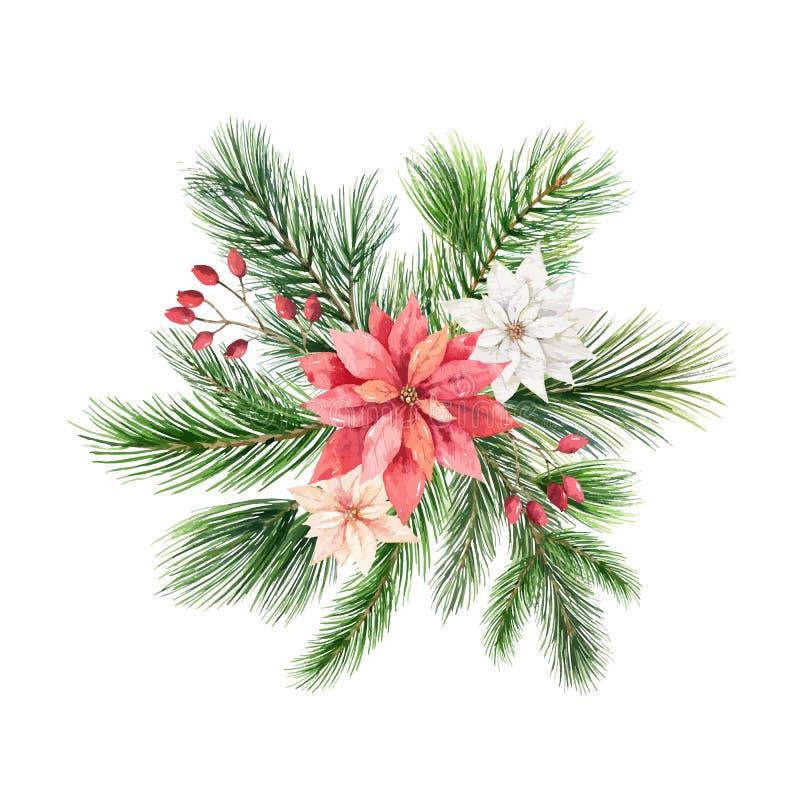 Kerstmis vectorregeling met groene die spartakken op witte achtergrond wordt geïsoleerd vector illustratie
