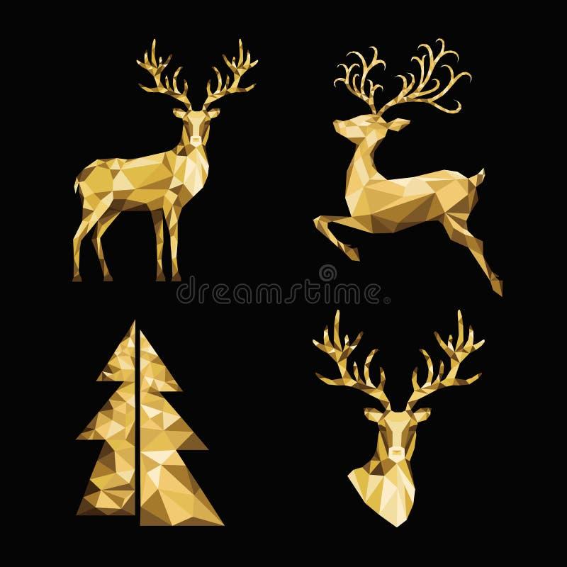 Kerstmis veelhoekige gouden rendier en Kerstmisboom op zwarte rug vector illustratie