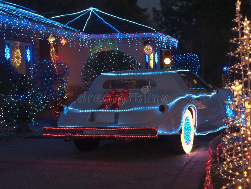 Kerstmis verfraaid huis en Phantom Zimmer luxur stock fotografie
