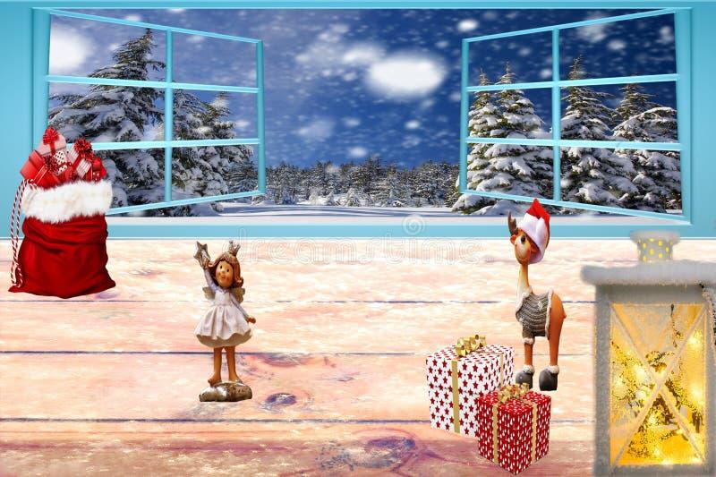 Kerstmis verfraaide bevroren lijst met open vensters stock fotografie