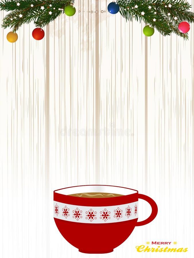 Kerstmis verfraaide koffiekop bij het in de schaduw stellen van houten achtergrond stock illustratie